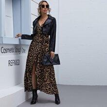 Cami Wickelkleid mit Leopard Muster und Selbstguertel