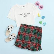 T-Shirt mit Buchstaben Grafik & Rock mit zweireihigen Knopfen und Karo Muster