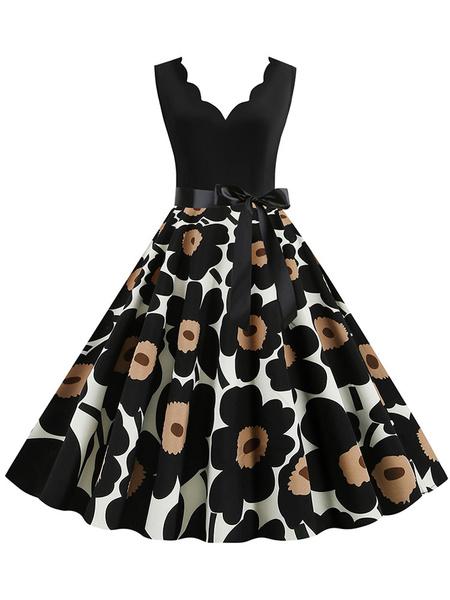 Milanoo Vestido vintage Vestido de Rockabilly con cuello en V sin mangas con estampado floral negro de los años 50