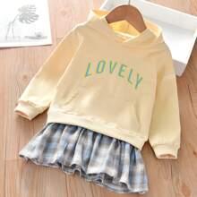 Toddler Girls Letter Graphic Ruffle Hem Hooded Sweatshirt Dress