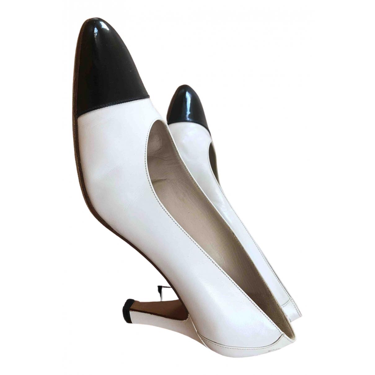 Chanel N White Leather Heels for Women 36.5 EU