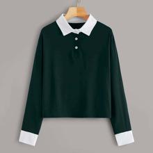 Polo T-Shirt mit Kontrast Kragen und Manschetten