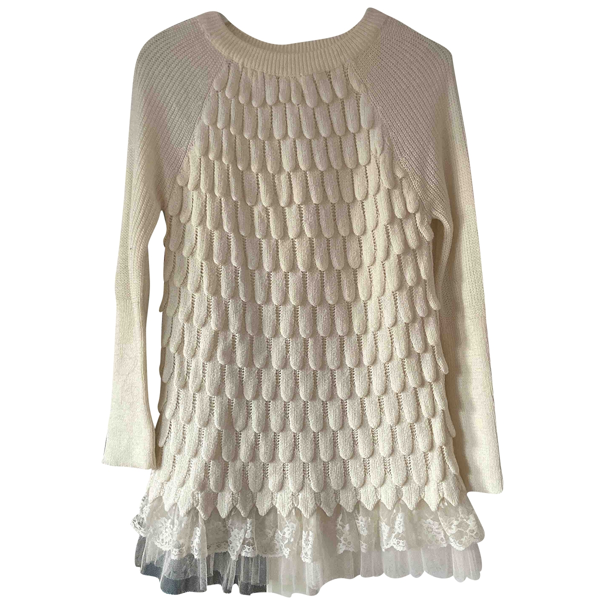 Non Signe / Unsigned Epaulettes Pullover in  Weiss Synthetik