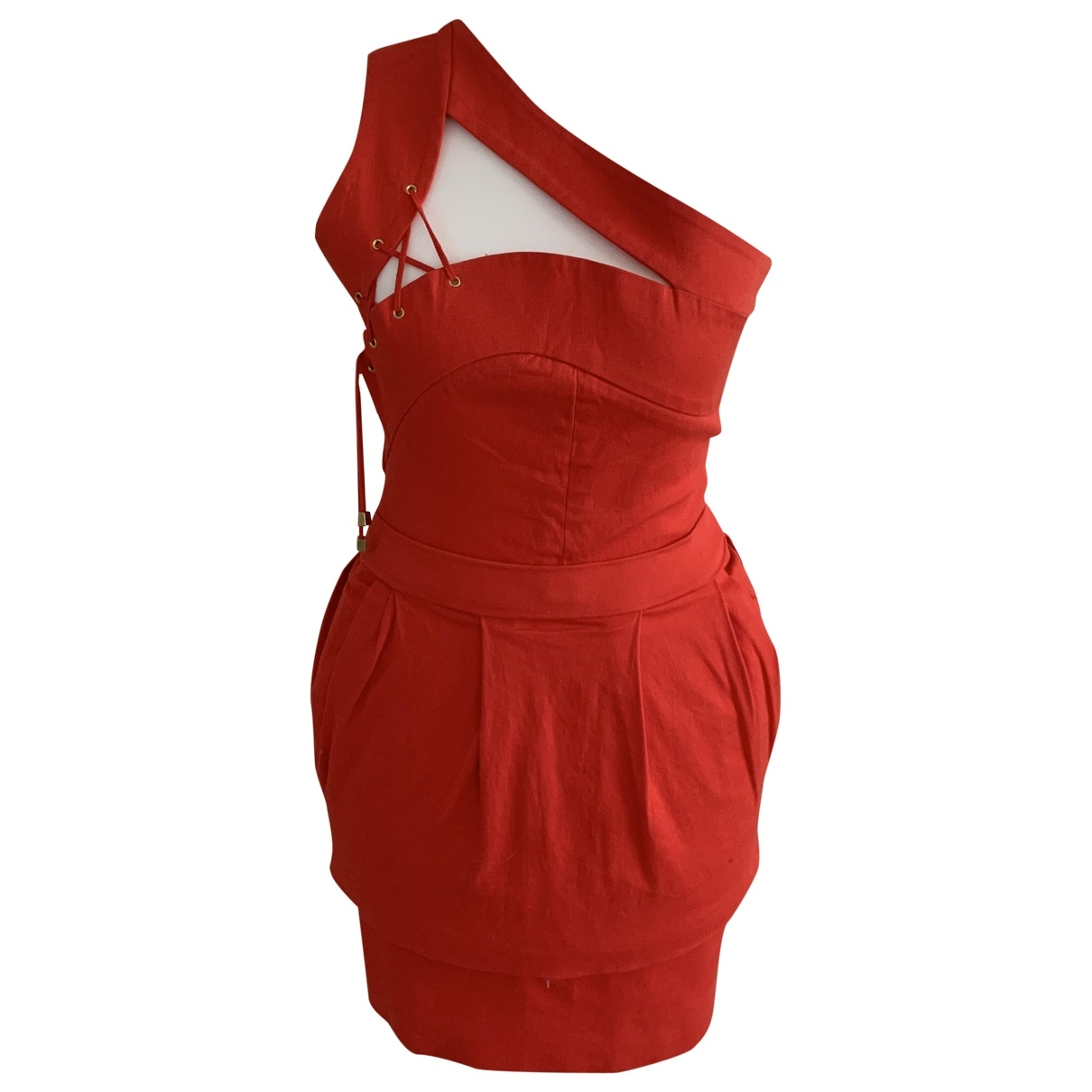 Preen By Thornton Bregazzi \N Kleid in  Rot Baumwolle