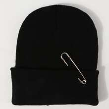 Safety Pin Decor Beanie