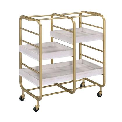 BM211119 Metal Frame Serving Cart with Adjustable Compartments Gold and Washed