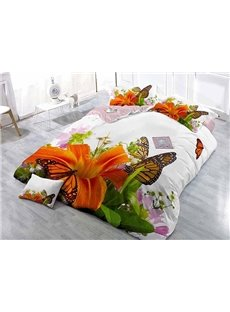Orange Lily and Butterfly Wear-resistant Breathable High Quality 60s Cotton 4-Piece 3D Bedding Sets