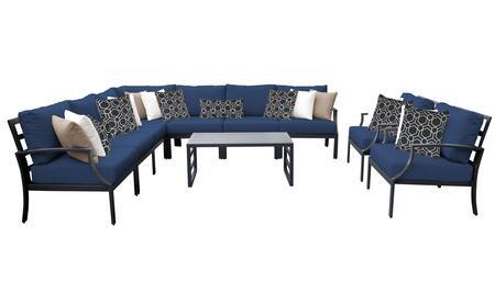 Lexington LEXINGTON-10a-NAVY 10-Piece Aluminum Patio Set 10a with 1 Left Arm Chair  1 Right Arm Chair  1 Corner Chair  4 Armless Chairs  2 Club