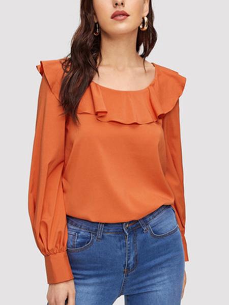Yoins Orange Ruffle Trim Pleated  Lantern Sleeves Blouse