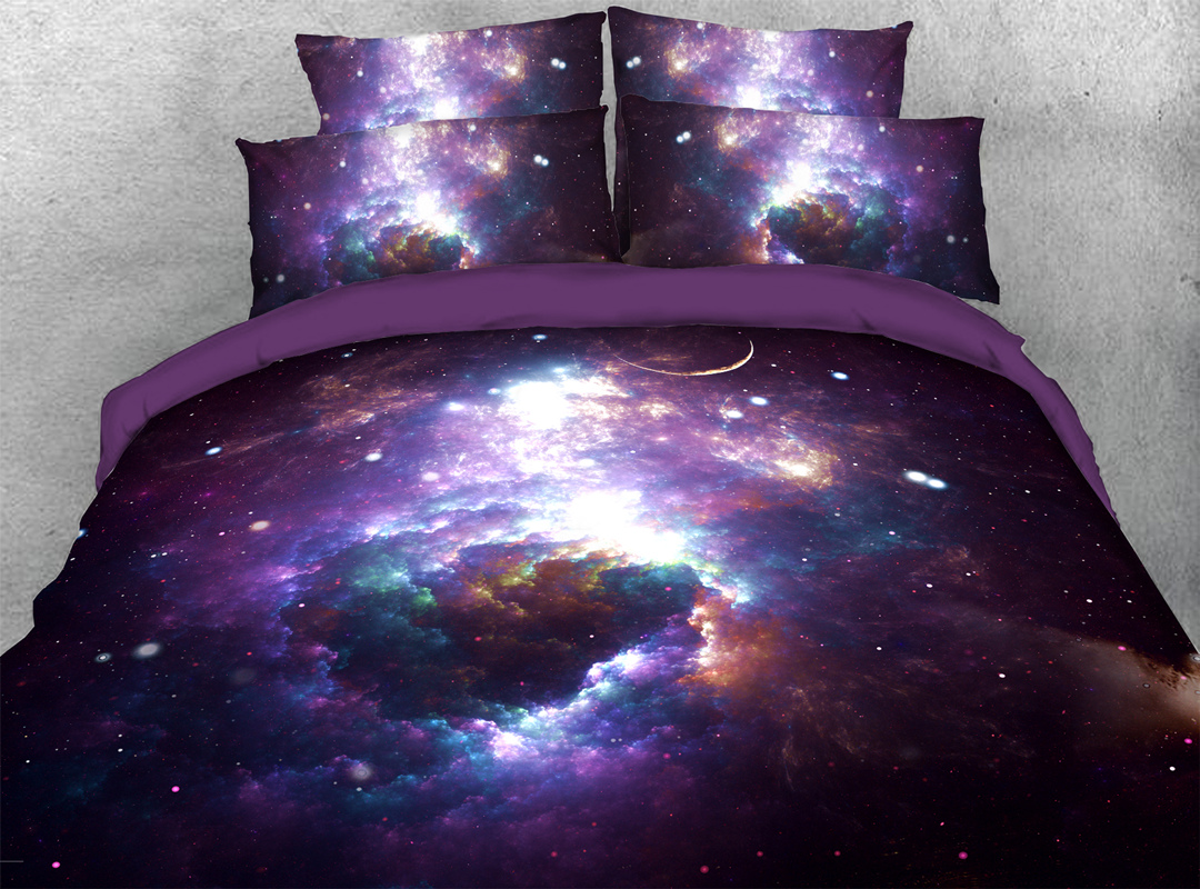 Purple Outerspace 3D Galaxy Zipper Bedding Sets Colorfast Hard-wearing 4pcs Duvet Cover with Corner Ties