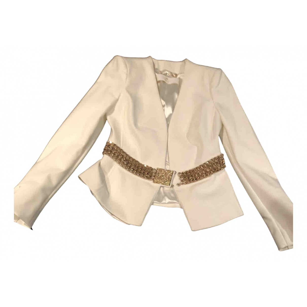Elisabetta Franchi N White Cotton jacket for Women 42 IT