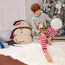 Boys Christmas Print Top & Striped Joggers PJ Set