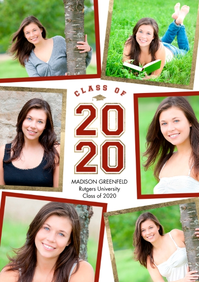 Graduation Announcements 5x7 Cards, Premium Cardstock 120lb with Scalloped Corners, Card & Stationery -2020 Grad Collage by Tumbalina