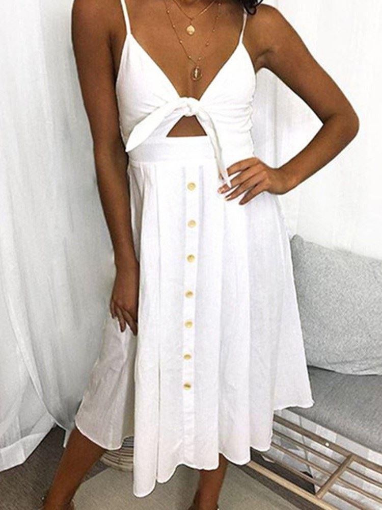 Women's Sexy Deep V Neck Sleeveless Halter Split Maxi Party Holiday Dress