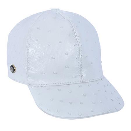 White Genuine Ostrich Cap