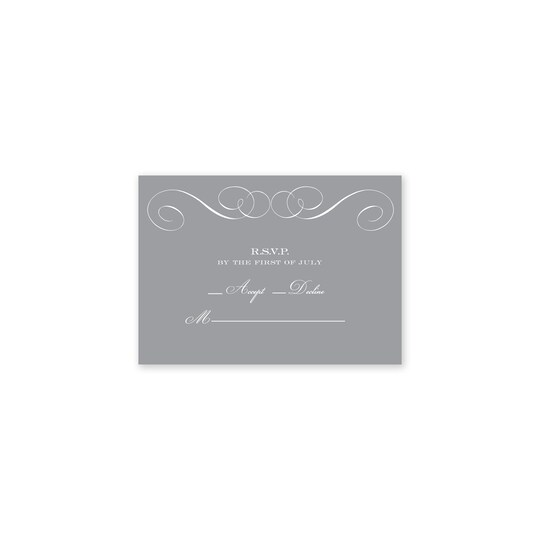20 Pack of Martha Stewart Personalized Scroll Flat Wedding RSVP in Cool Gray | 3.5