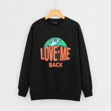 Drop Shoulder Slogan Graphic Sweatshirt