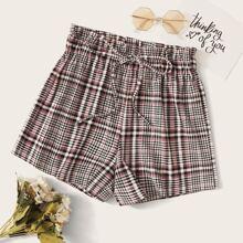 Shorts mit Papiertasche Taille und Karo Muster