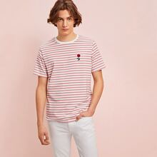 Guys Embroidered Floral Striped Tee