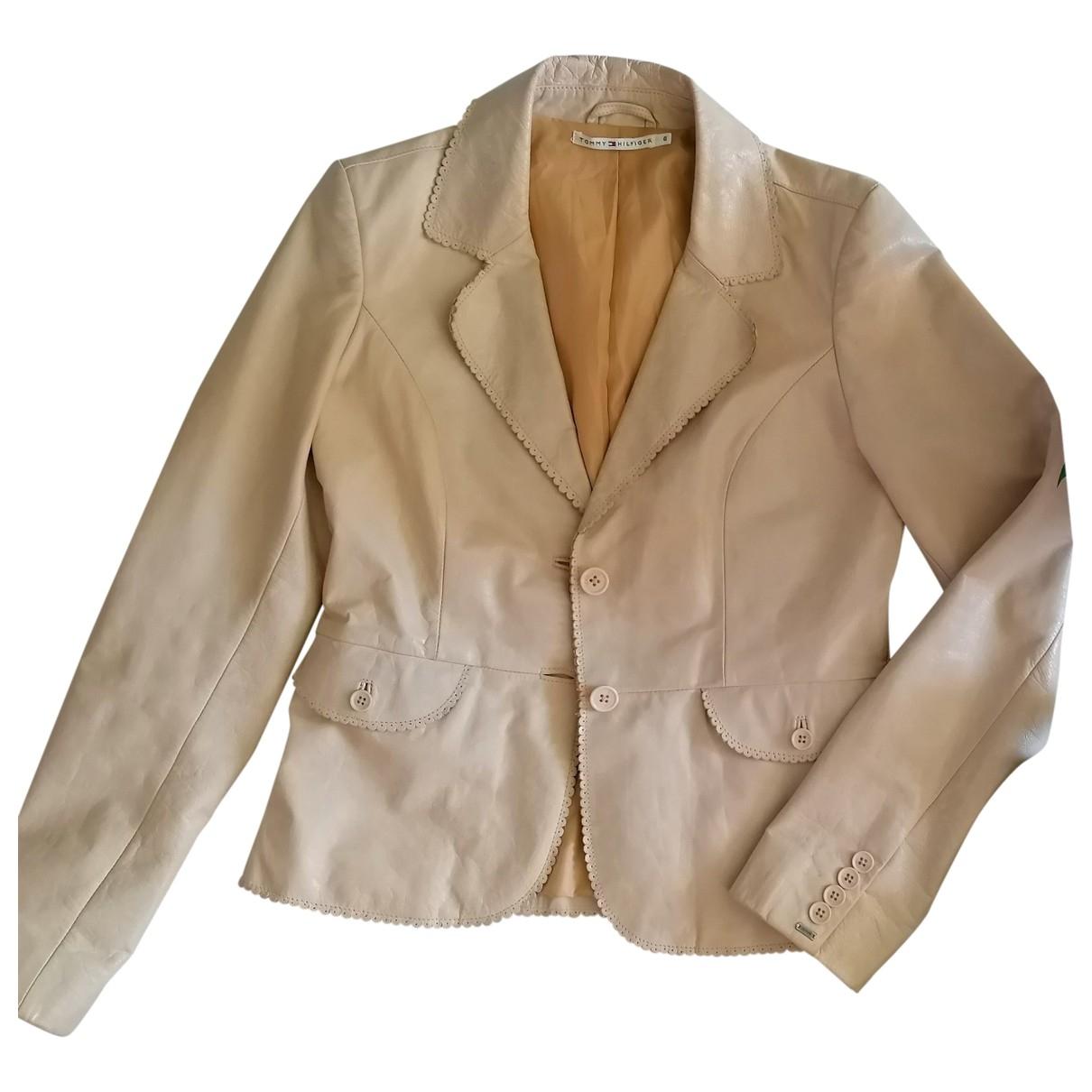 Tommy Hilfiger - Veste   pour femme en cuir - beige