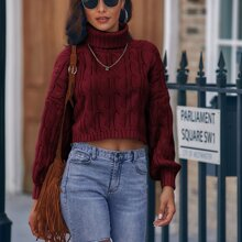 High Neck Cable Knit Crop Sweater