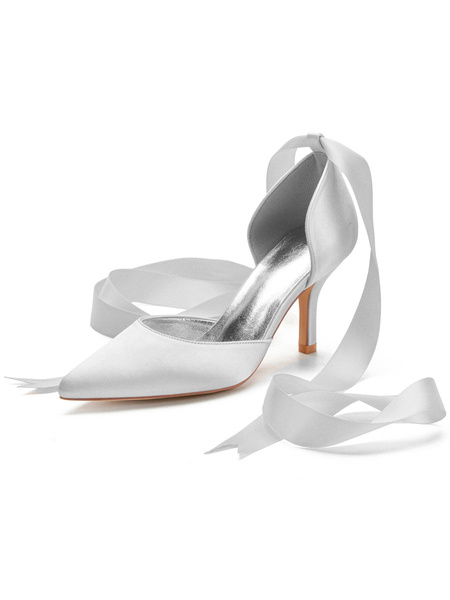 Milanoo Women's High Heels Ankle Strap Pointed Toe Stiletto Heel Bows Classic Ivory Wedding Shoes