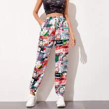 Pop Art Print Windbreaker Pants