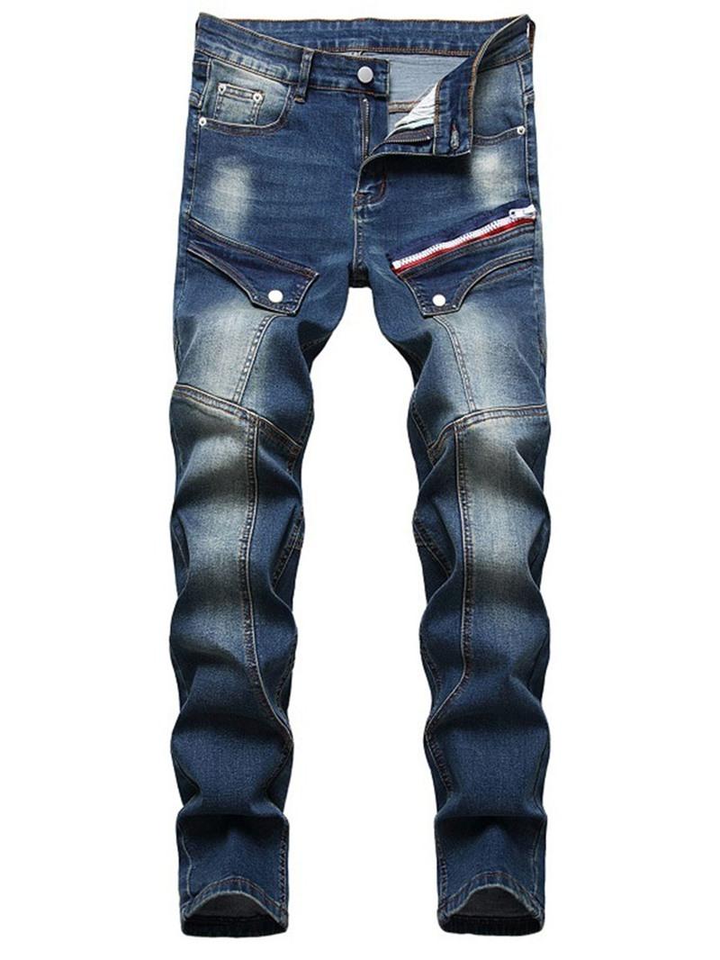 Ericdress Straight Zipper Men's Mid Waist Jeans
