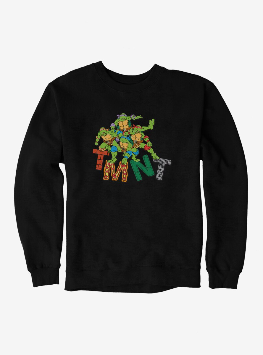 Teenage Mutant Ninja Turtles Patterned Logo Letters Group Sweatshirt
