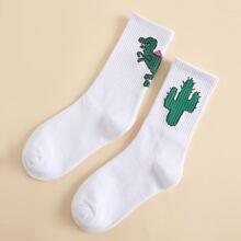 2pairs Cactus Pattern Socks