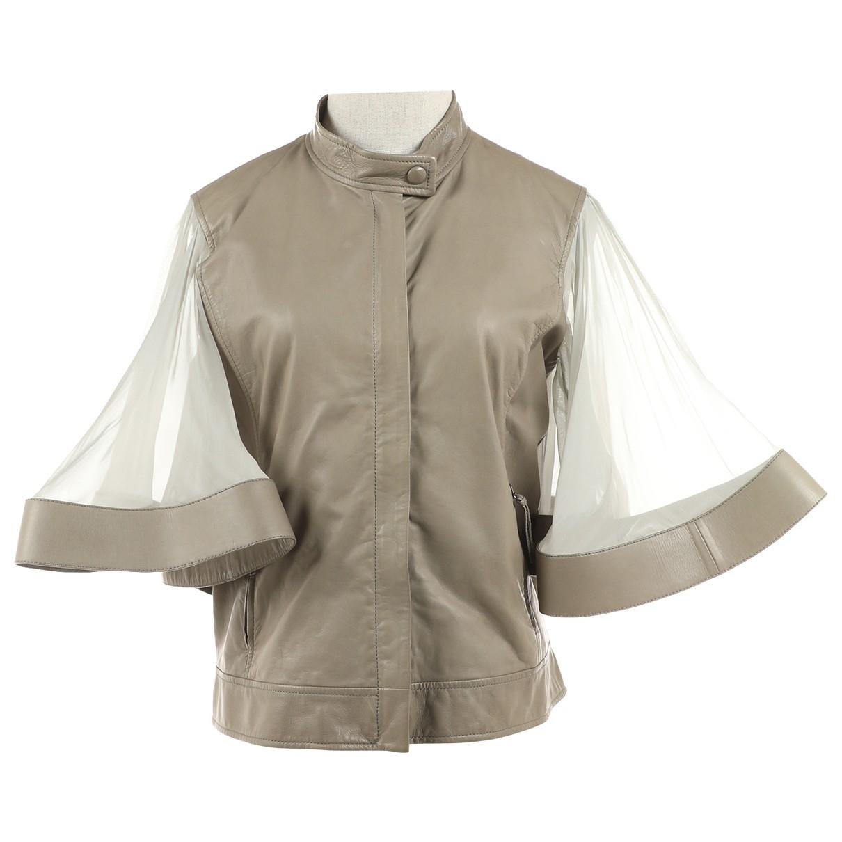 Valentino Garavani - Veste   pour femme en cuir - gris