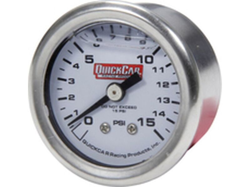 Quickcar Racing Products Pressure Gauge 0-15 PSI 1.5 inches Liquid Filled