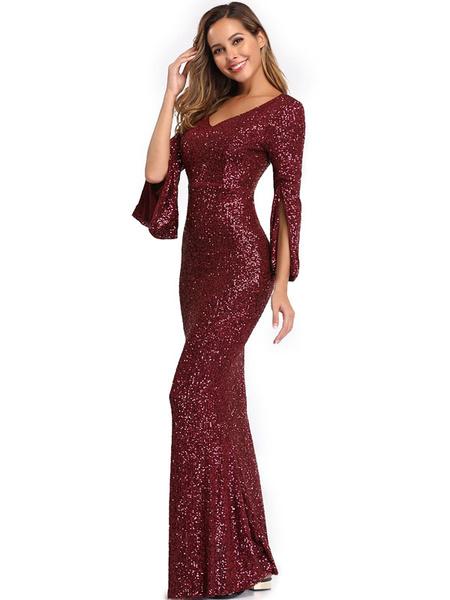 Milanoo Evening Dress Mermaid V Neck Sequined Floor Length Sequins Formal Party Dresses
