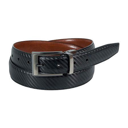 Dallas + Main Twill Embossed Reversible Dress Belt, 36 , Brown