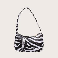 Zebra Striped Baguette Bag
