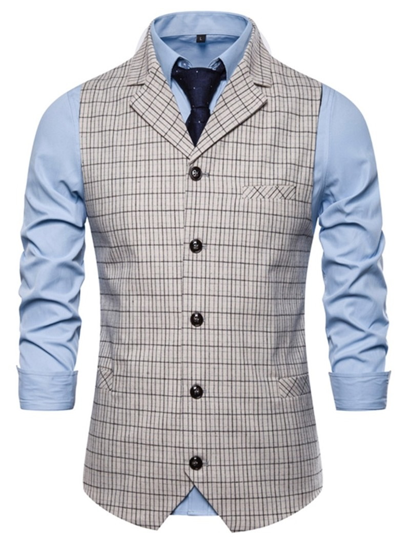 Ericdress Notched Lapel Plaid Button Men's Fashion Waistcoat