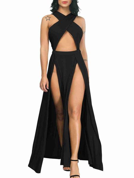 Milanoo Vestido largo Color almendra oscuro Moda Mujer sin mangas de algodon mezclado Vestidos Color liso con tirantes sexy Verano