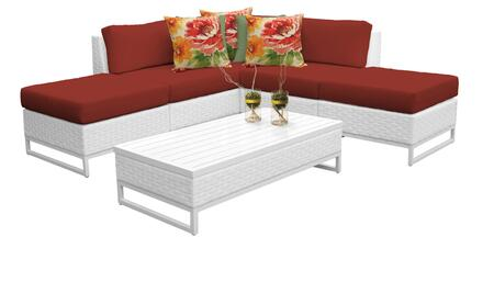 Miami MIAMI-06c-TERRACOTTA 6-Piece Wicker Patio Furniture Set 06c with 2 Armless Chairs  2 Ottomans  1 Corner Chair and 1 Coffee Table - Sail White