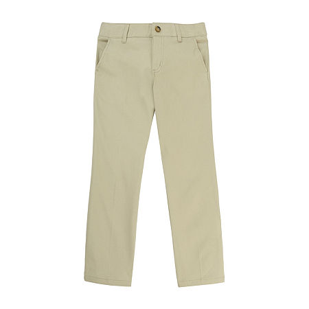 French Toast Little & Big Girls Straight Flat Front Pant, 14.5 Plus , Beige