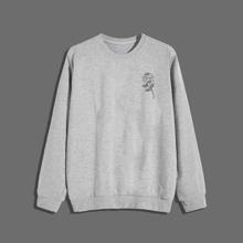 Men Heather Gray Floral Print Sweatshirt