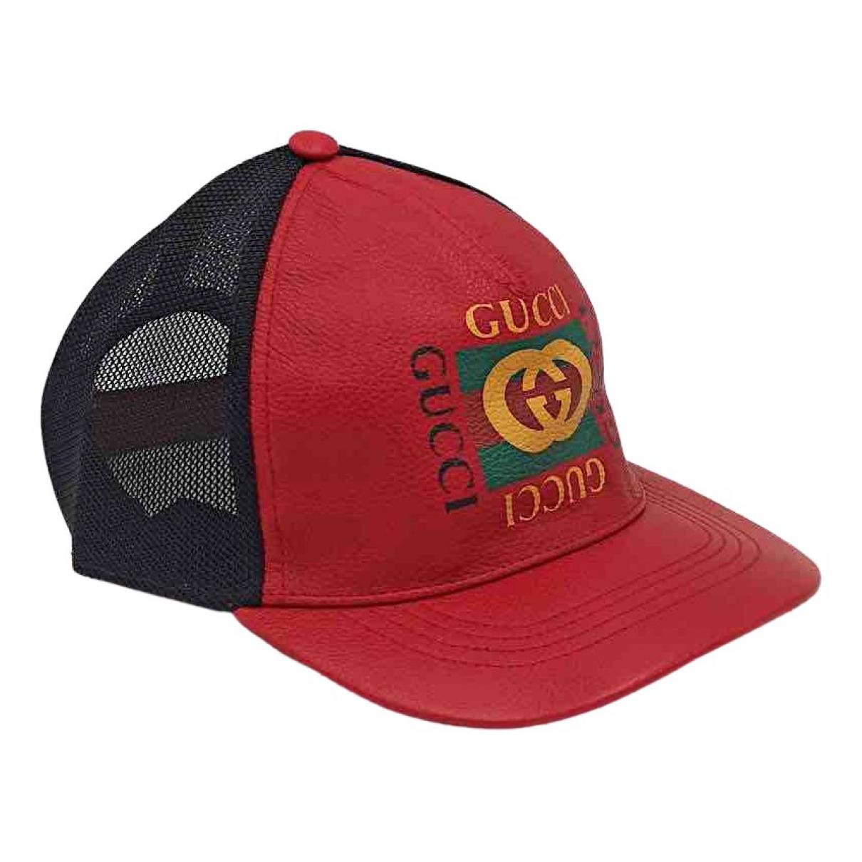 Gucci - Chapeau & Bonnets   pour homme en cuir - rouge