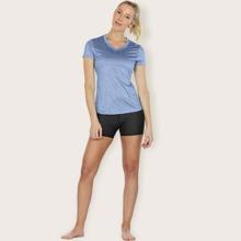 Einfarbiges Sports T-Shirt mit V Kragen