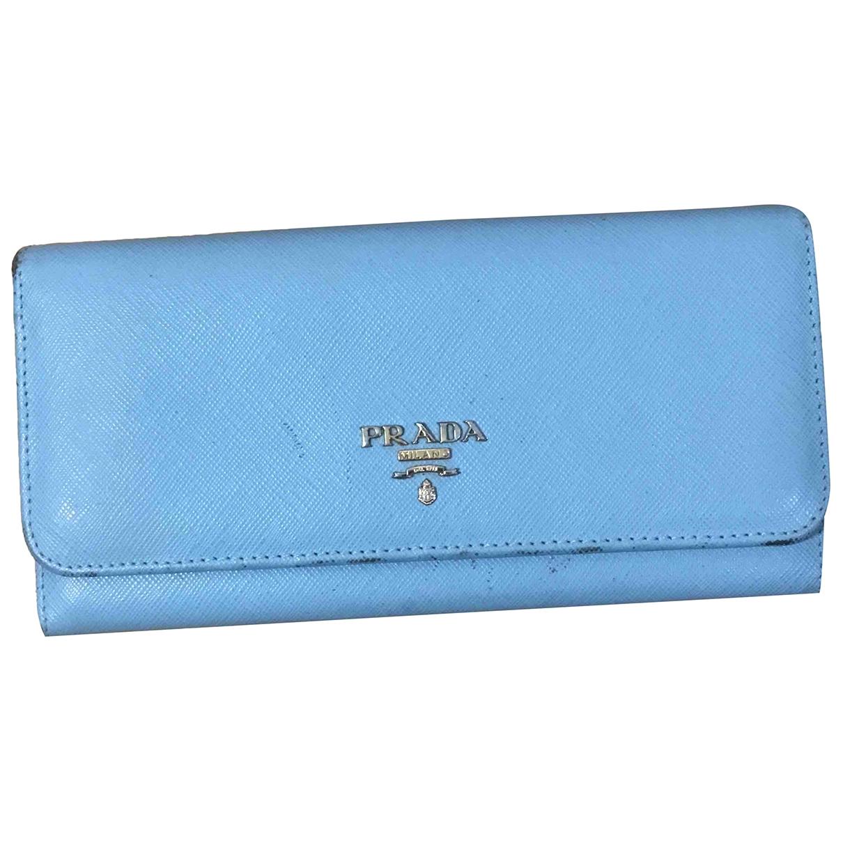 Prada - Portefeuille   pour femme en cuir - bleu