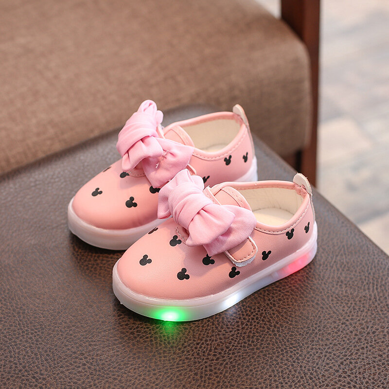 Girls Bowknot Decor LED Hook Loop Casual Flat Shoes
