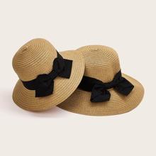2pcs Girls Bow Knot Decor Straw Hat