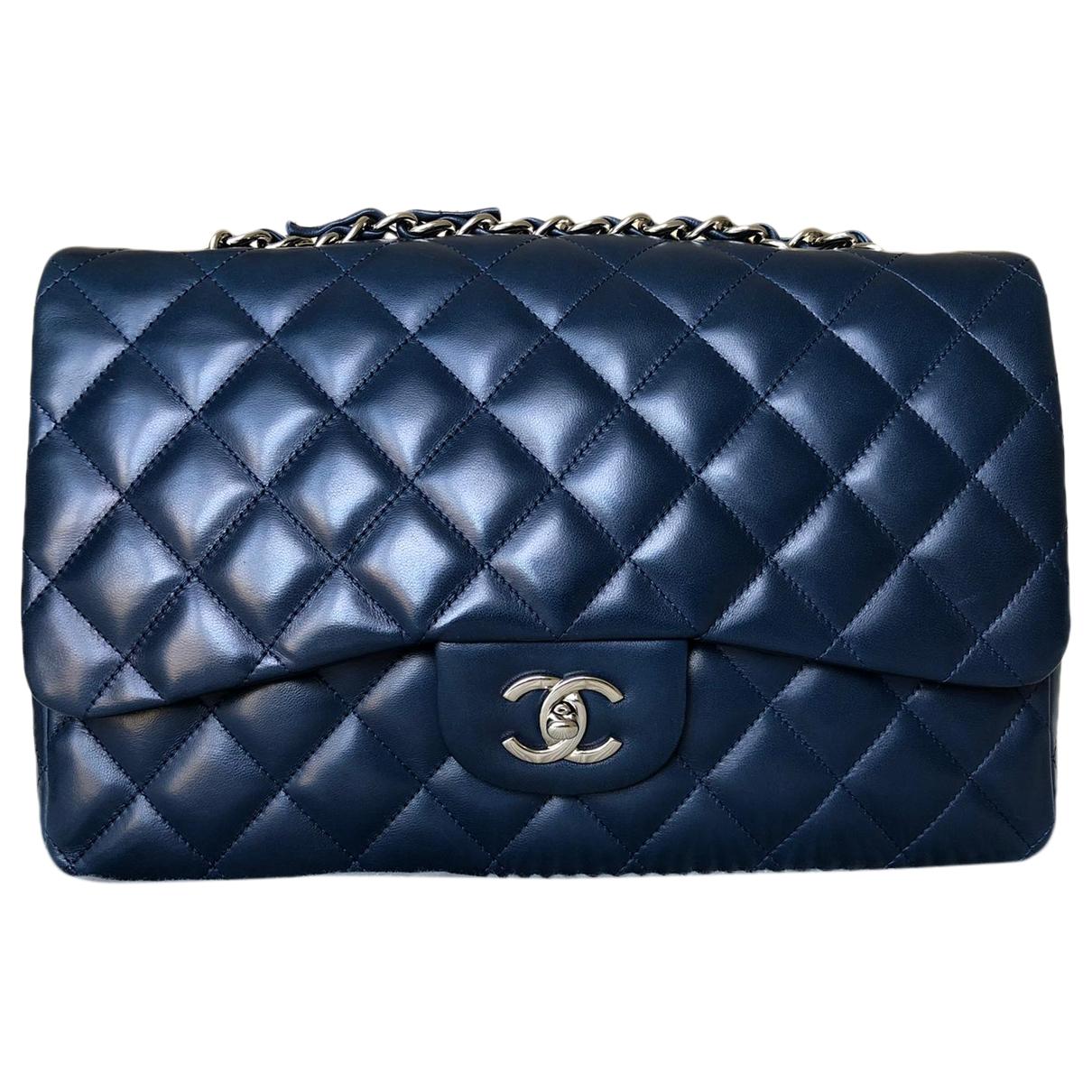 Chanel - Sac a main Timeless/Classique pour femme en cuir - marine
