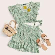 Conjunto top floral de margarita cruzado ribete fruncido con falda