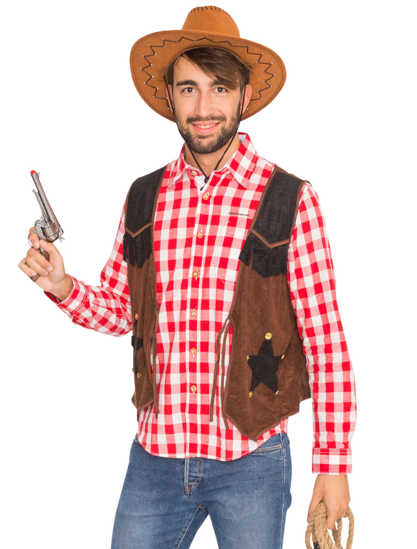 Herren-Kostuem Weste Cowboy braun Grosse: 60