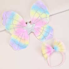 2pcs Toddler Girls Bow Decor Hair Accessory
