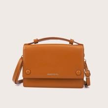 Snap Button Flap Satchel Bag